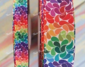 "fun bright rainbow flower 3/8"" or 7/8"" Grosgrain Ribbon, flower rainbow,  craft supply, hairbow supply, lanyard supply, dog collar supply"