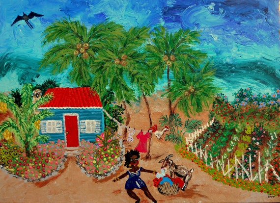"Da Neighbor's Goat - Acrylic Caribbean Art Painting 18 x 24"" canvas panel, Ethnic Art; Outsider Folk Artist Stacey Torres"
