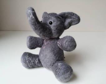 Gray wet felted Elephant