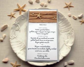 Beach Wedding Menu, Wedding Dinner Menu, Bridal Shower Menu, Rustic Wedding Dinner Menu, Rustic Wedding Menu, Burlap Wedding Menu