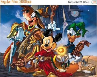 "Disney Mickey wizard Counted Cross Stitch disney Pattern digital file needlepoint needlework - 19.57"" x 14.79"" - L533"