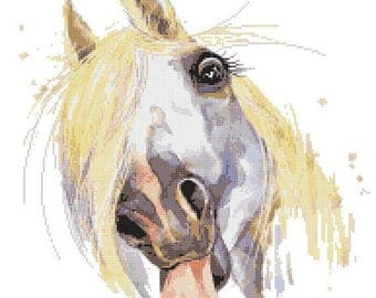 """horse Counted Cross Stitch watercolor Pattern chart point de croix needlepoint needlework -13.79"""" x 13.79"""" - L1516"""