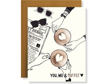 Funny Friendship Card / Long Distance Relationship Card/ Miss Your Face/ Card for Her/ Coffee Card / Coffee Lover Gift / Coffee illustration