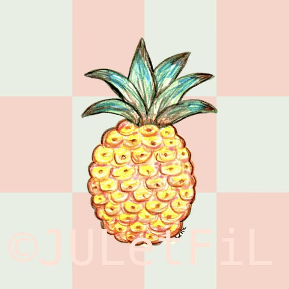 Image digital pineapple on a pastel checkered juletfil
