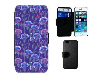 Wallet case iPhone 8 7 6S 6 Plus, X SE 5S 5C 5 4S, Samsung Galaxy S8 Plus, S7 S6 Edge, S4, S5 Mini Note 5 Scottish Thistle phone cover. F351