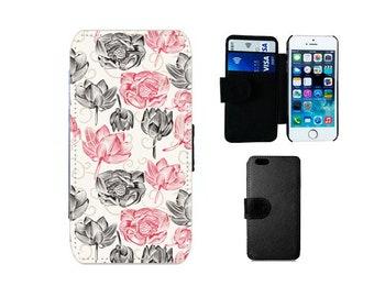 Wallet case iPhone 6 6S 7 8 Plus X SE 5S 5C 5 4S, Samsung Galaxy Flip S8 Plus, S7 S6 Edge, S5 S4 Mini, lotus flower floral phone cover. F61