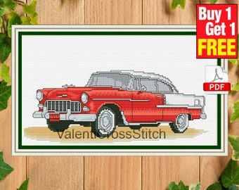 Chevrolet Cross Stitch Pattern, Car, Chevrolet 1955,  Chevy, Chevrolet Bel Air , Retro, Cross Stitch, Chart, #sp 176