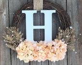 Monogram Wreath, Front Door Wreath , Spring Door Wreath, Door Wreath, Summer Door Wreath, Wreath With Letter, Spring Wreath, Letter Wreath