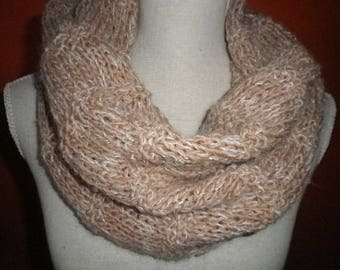 Beige Heather alpaca and mohair Snood