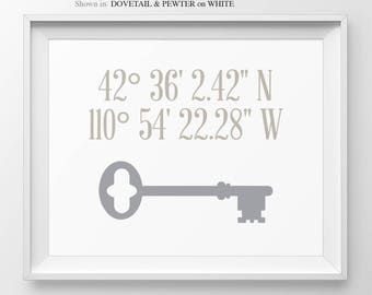 Our First Home Skeleton Key Latitude Longitude Housewarming Gift For Couple New Homeowner Gift House Warming Gift Address Sign First Home