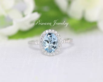 Aquamarine Ring, Genuine Aquamarine Oval Shaped 9x7mm, March Birthstone, Oval Halo Engagement Ring, Wedding Ring,  Anniversary Ring, Silver