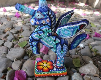 PEGASUS carved wood handmade beaded by mexican Huichol artesans