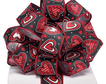 "1.5"" x 20yds Hearts & Hearts Wired Ribbon / Wreath Supplies/ Valentines Day Decoration/1552203"
