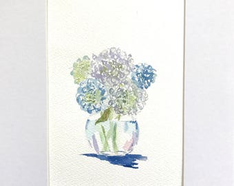 Original watercolor art, Hydrangea painting, small watercolor art, Original watercolor, Original painting, Last minute gift, Gifts under 25