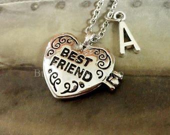 Best Friend Locket, Best Friend Necklace, Initial Necklace,Best Friend Jewelry,BFF Necklace, Friendship Necklace, Friendship Jewelry