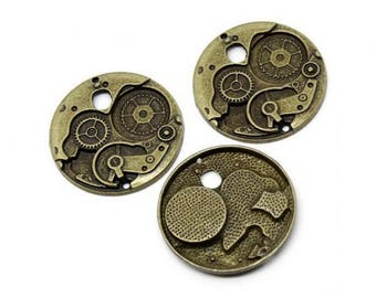 5 charms gears Steampunk Bronze 38mm