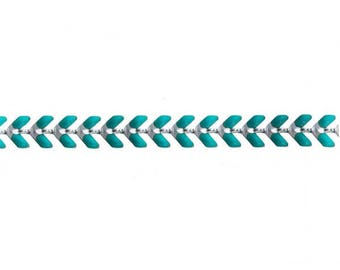0.5 m chain spike chevron silver and Turquoise