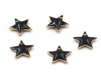 Star 10 enamel charms 12x11mm black