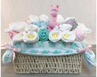 Baby Shower Gift Basket Fo Girl   Pink And Teal Elephant And Giraffe   New  Granddaughter