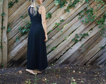 Long Black Sleeveless Dress / Simple Dress with open back detail womens s