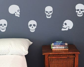 skull skulls wall decals set of 10 house bedroom bathroom stickers removable halloween scary