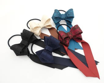 Multi Wing Long Tail Bow Hair Elastic Ponytail Holder