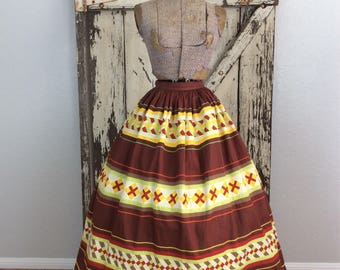 Vintage 1950s Patchwork Quiltted Cotton Full Skirt Small Xs 24 1/2 Waist