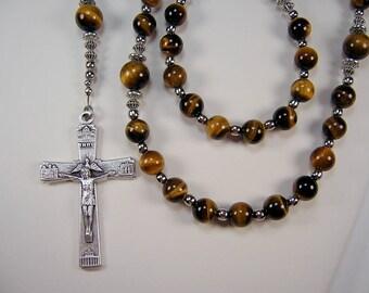 Mens Tiger Eye Rosary Catholic St Jude Gemstone 23 1/2 inch Genuine Tiger Eye Beads Silver Plated Masculino Collar Rosario Free Shipping USA