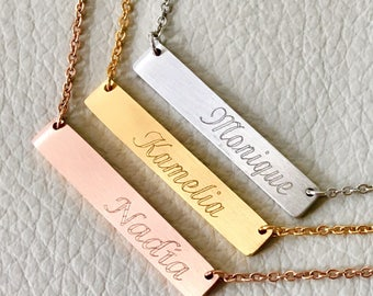 name bar necklace,initial necklace,Bridesmaid Gift, Engraved Jewelry, silver plate bar necklace, rose gold , gift idea,