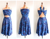 Vintage 1950's Blue Hawaiian Print Wrap Bodice Dress | Size Small