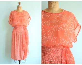 Vintage 1980's Coral Silk Polka Dot Dress | Size Medium