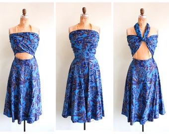 Vintage 1950's Blue Hawaiian Print Wrap Bodice Dress | Size Small
