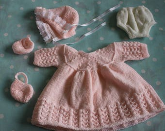 Knitted Dolls Dress Set in Pale Peach for 16 - 18 inch doll