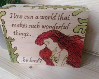 The Little Mermaid Ariel Reclaimed Wood Art Block Gift Fantasy Nautical Living Room Ideas Gift for daughter Mother Unusual gift