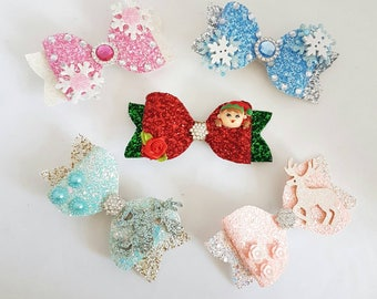 "Large glitter bows, Christmas glitter bows, 4.5"" glitter hair bows, snow flake hair bow, reindeer hair bow, baby hair clips"