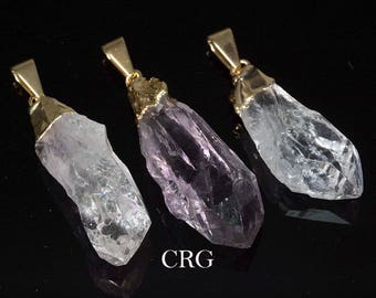 Gold Plated Uruguayan Crystal Point Pendant (PT26CN) SPECIAL!