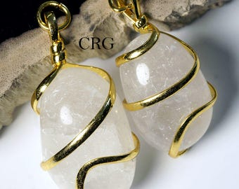 Gold Plated Spiral Wrapped Tumbled QUARTZ CRYSTAL Pendant (TU29DG)