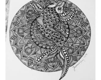 A3 Koi Mandala Original Drawing