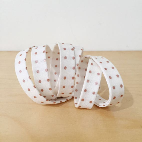 "Bias tape in Riley Blake Rose Gold Metallic Polka Dot Cotton- 1/2"" Double-fold binding- 3 yard roll"