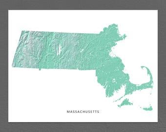 Massachusetts Map Print, Massachusetts State, Aqua, MA Landscape Art
