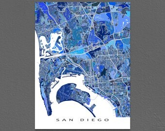 San Diego Map Print, San Diego California USA, City Map Art, Blue