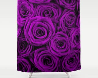 Purple Roses Shower Curtain Purple Floral Shower Curtain Roses Shower Curtain Purple Shower Curtain Floral Shower Curtain