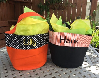 Personalized Halloween Bucket - Monogrammed Halloween Bucket - Boys Halloween Bucket - Trick or Treat Bag - Halloween Bag - Halloween Tote