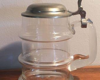 Erbo Zinn Clear Glass Beer Stein Ribbed Pewter Lid Vintage Germany