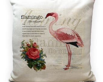Flamingo Cushion Cover, Vintage Dictionary description meaning - Style pink Floral Design - 40cm 16 inches