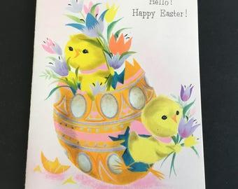 Vintage Easter Greeting Card, chicks, tulips & Egg, American Greetings