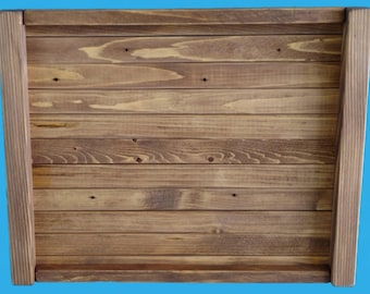 "recycled wood decorative tray 12"" by 15"", pine strips re cut from demolition wood-tray60"