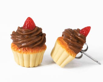 Handmade Chocolate Frosting Cupcake Stud Earrings Topped with Strawberry, Vanilla Cupcake Earrings, Cupcake Stud Earrings