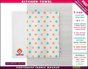 Kitchen Towel Flour Sack Fabric | Square | Photoshop Fabric Mockup KT-3 | Towel on Wooden Marble Table | Smart Object Custom color