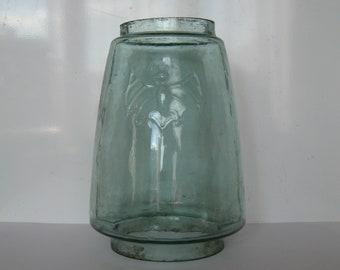 Antique Vintage Glass Kerosene Lamp Globe font with Bat Depiction.